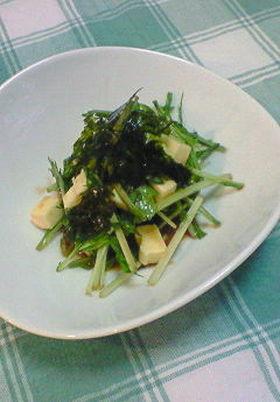 水菜とチーズのわさび醤油サラダ