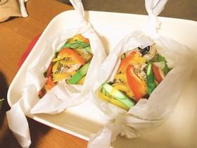 レンチン♫彩り野菜とタラの蒸しポン