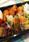 男弁☆鮭缶のかき揚げと竹輪の磯辺揚げ弁当