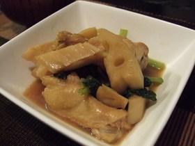 鶏手羽&小松菜&れんこんの簡単煮♪