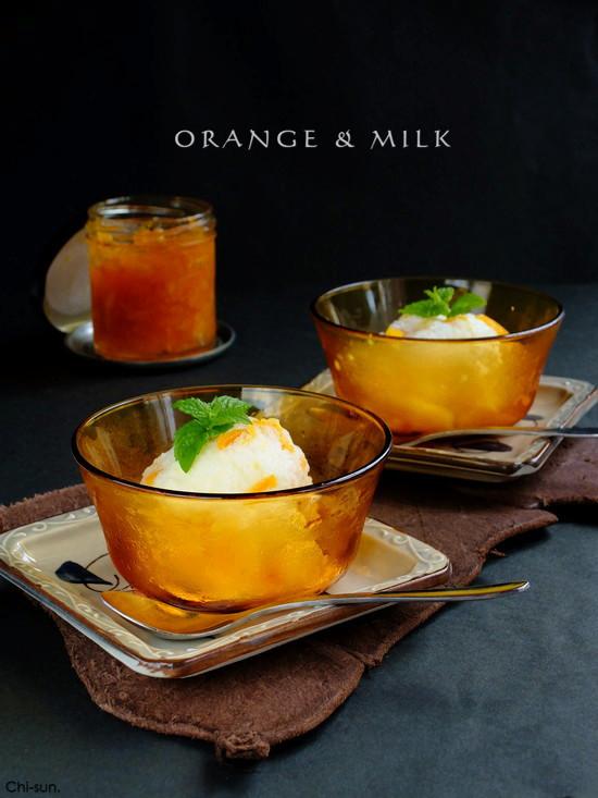 材料3つ☆オレンジミルクアイス!