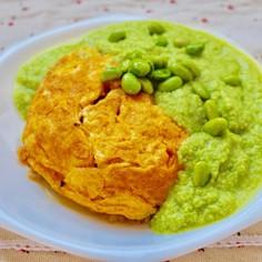 天津飯  ー緑のソースを添えてー