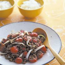 ひき肉とプチトマトの中華炒め