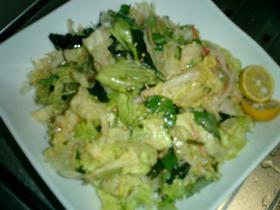 レタスとカニかまの中華風サラダ