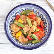 夏野菜と鶏肉のビネガー炒め