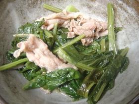 小松菜と豚肉の中華味付け煮