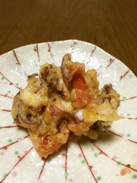タコとトマトのかき揚げ