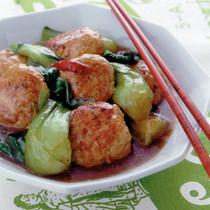 つくねと青梗菜の中華風照り煮