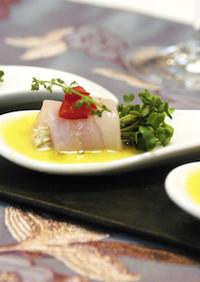 白身魚のカルパッチョ トウモロコシソース