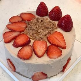 Wチョコクリームの苺チョコショートケーキ
