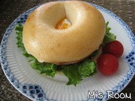ハムと玉子のクリームチーズベーグルサンド
