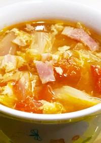 卵入り☆キャベツとトマトのスープ