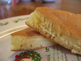 煮りんご入りホットケーキ