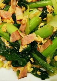 小松菜とベーコンと卵の中華炒め