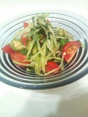 さっと簡単♪水菜とオクラのぽん酢サラダの写真
