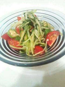 さっと簡単♪水菜とオクラのぽん酢サラダ