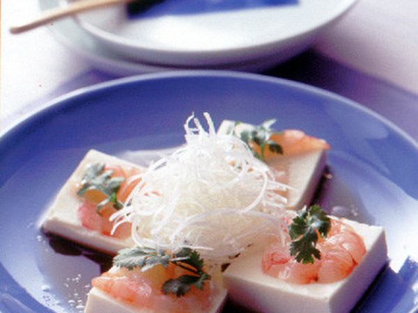 豆腐とえびの中華風レンジ蒸し