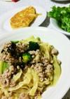 豚挽き肉とブロッコリーのオイルパスタ