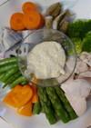 胡麻味噌マヨディップでゆで鶏と温野菜