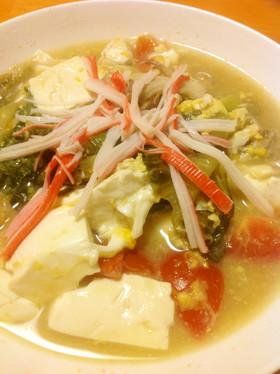卵レタス豆腐トマト舞茸のとろりスープ
