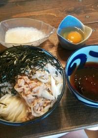 ラー油入り肉うどんつけ麺(冷うどん)