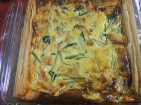 鮭と小松菜とサツマイモのキッシュ
