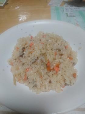 朴葉入り鮭炊き込みご飯