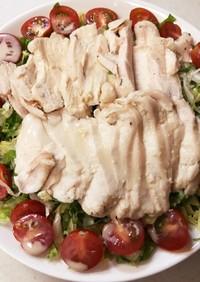 湯煎調理で簡単鶏ハムサラダ