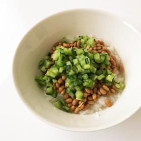 キュウリ納豆どんぶり風*離乳食*中期〜