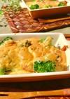 鶏むねチリソース風甘辛ムースマヨグラタン