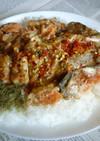 銀鮭のアラの焼き鮭(マヨ版)でカフェ丼
