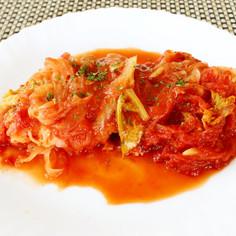 新たまねぎと鮭のノンオイル無水トマト煮