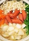 土鍋で簡単!かぶのコンソメミルクスープ鍋