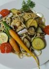 焼き夏野菜とオイルサーディンのパスタ
