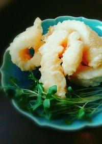 ポン酢でいただく、アオリイカの天ぷら。