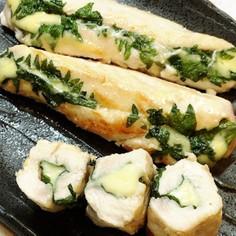 簡単♬ササミ大葉チーズ焼きガーリック風味