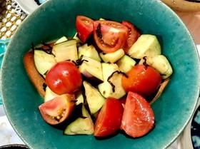 水茄子とフルーツトマトの塩昆布和え