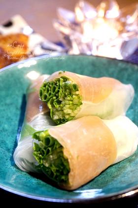 シャキシャキ水菜と小葱の生ハム生春巻き