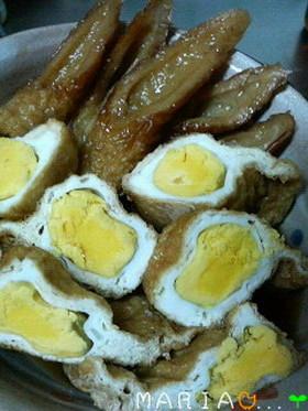 母の料理☆卵入り寿司揚げ&おまけにちくわ