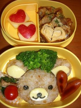 リラックマ&ハート弁当(キャラ弁)
