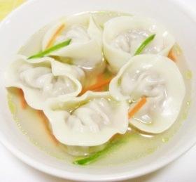 プリプリ♪エビのラビオリ風スープ