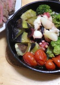 野菜とタコのアヒージョ