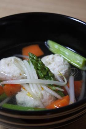 しゃきしゃきえのきの鶏団子スープ