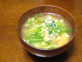 小松菜と卵の味噌汁✿