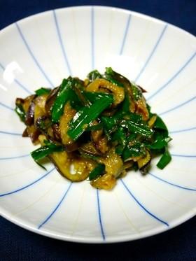 簡単副菜!ニラと茄子の胡麻味噌炒め