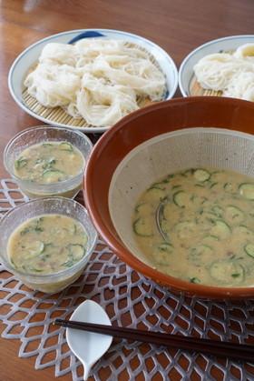 栄養たっぷり♡冷や汁(ゴマ汁)素麺
