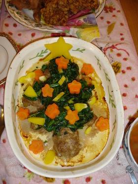豆腐バーグツリー クリスマスディナーに♪