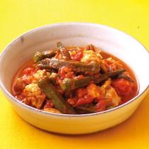 オクラと鶏肉のトマト煮