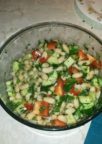 パクチーと白いんげん豆のサラダ