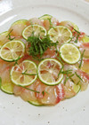 鯛とすだちのカルパッチョ柚子胡椒風味